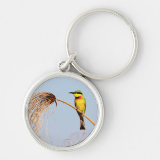Close-up of a little bee-eater bird Silver-Colored round key ring