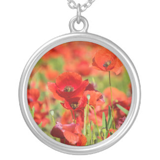 Close-up of a Poppy field, France Silver Plated Necklace
