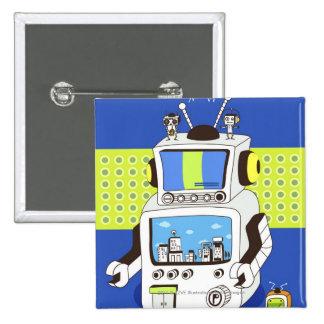 Close-up of a robot 15 cm square badge