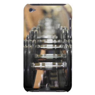 Close-up of a row of dumbbells iPod touch case