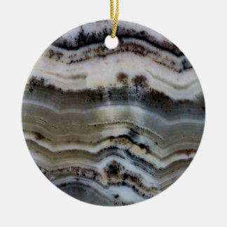 Close up of a Silver Lace Onyx Ceramic Ornament