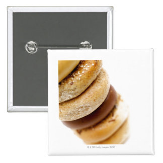 Close-up of a stack of assorted bagels 15 cm square badge