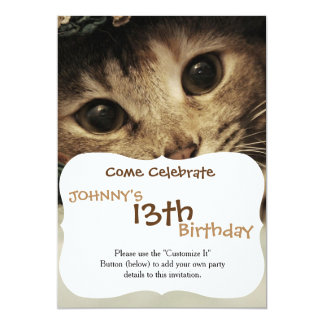 Close up of a tabby cats eyes card