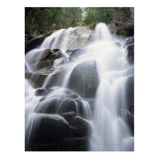 Close-up of a waterfall over boulders, Yosemite Postcard