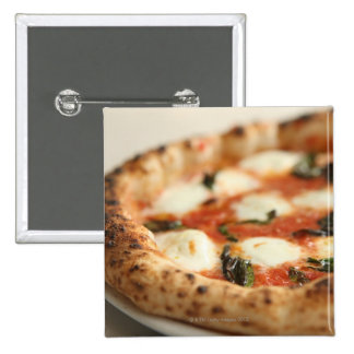 Close-up of a whole pizza pie 15 cm square badge