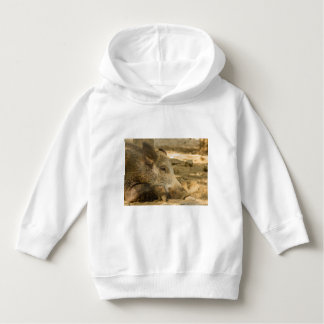 close-up of a wild boar on Toddler Pullover Hoodie