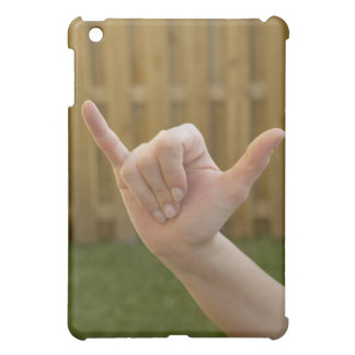 Close-up of a woman's hand making a shaka sign iPad mini cases