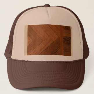 close-up of a wood parque on trucker hat