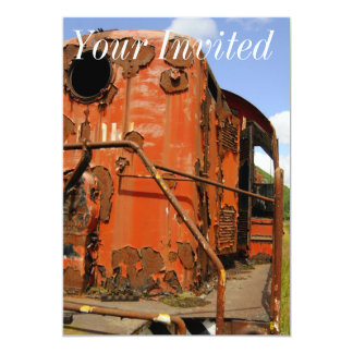 Close up of an Old Rusted Locomotive. 5x7 Paper Invitation Card