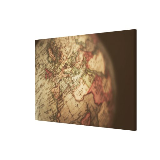 Close-up of antique globe 2 gallery wrap canvas