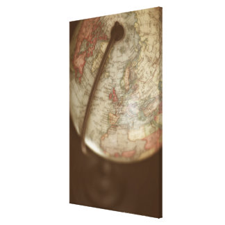 Close up of antique globe 3 canvas print