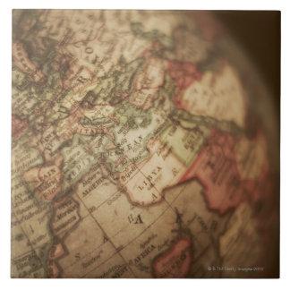 Close-up of antique globe 3 large square tile