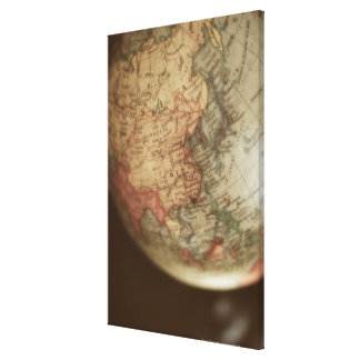 Close-up of antique globe gallery wrap canvas