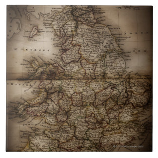 Close up of antique map of England Large Square Tile