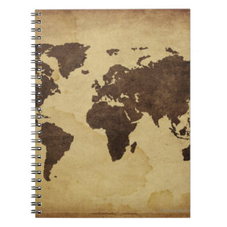 Close up of antique world map 3 notebooks