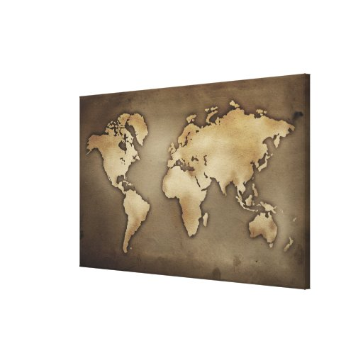 Close up of antique world map 5 stretched canvas prints