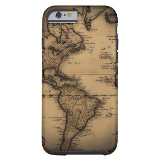 Close up of antique world map tough iPhone 6 case