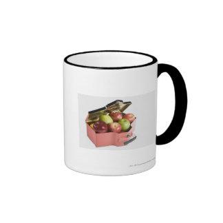 Close-up of apples in a box ringer mug
