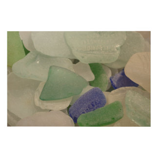 Close up of beach glass, Alaska Wood Print