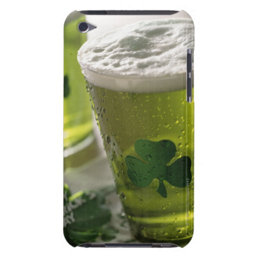 Close up of beverages with shamrocks on glass iPod touch covers