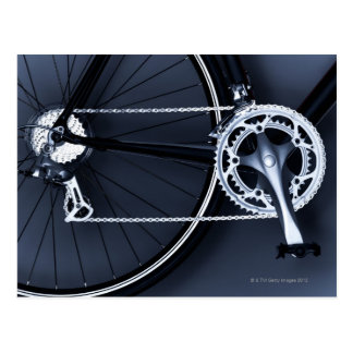 Close up of bicycle chain, pedal and gears postcard