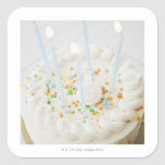 Close up of birthday cake with birthday candles