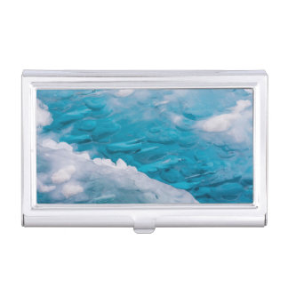 Close-up of blue ice case for business cards