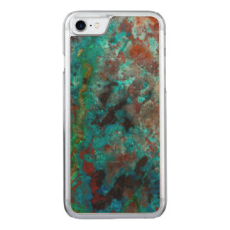 Close up of blue Shattuckite Carved iPhone 8/7 Case