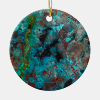 Close up of blue Shattuckite Ceramic Ornament