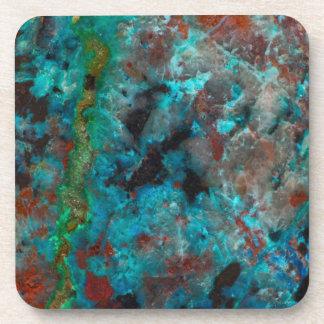 Close up of blue Shattuckite Coaster