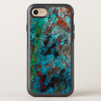 Close up of blue Shattuckite OtterBox Symmetry iPhone 8/7 Case