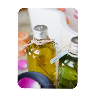 Close up of bottles with massage oils rectangular photo magnet