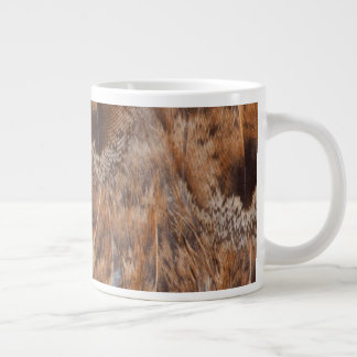 Close Up Of Brown Feathers Large Coffee Mug