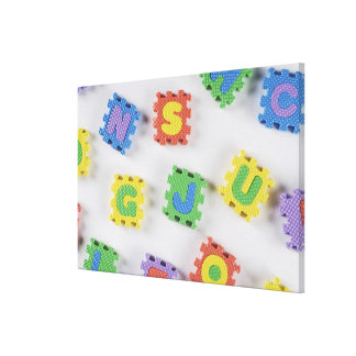 Close-up of building blocks gallery wrap canvas