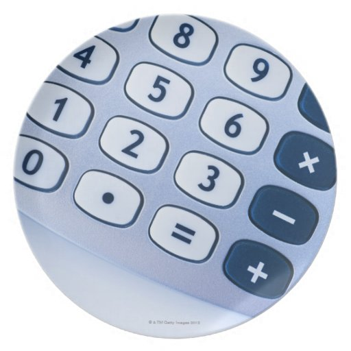 close-up of calculator buttons party plate