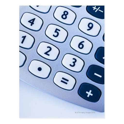 close-up of calculator buttons post card