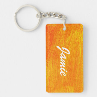 Close-up of canvas painting Double-Sided rectangular acrylic keychain