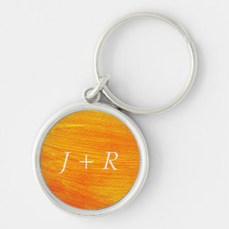 Close-up of canvas painting Silver-Colored round key ring