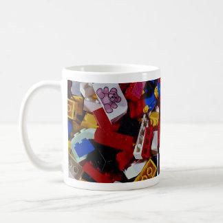 Close-up of children's building blocks basic white mug