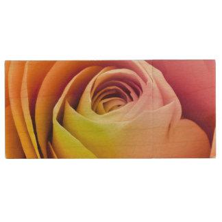 Close up of Colorful Rose Petals Wood USB 2.0 Flash Drive