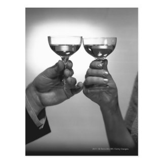 Close up of couple toasting with white wine B&W Postcard