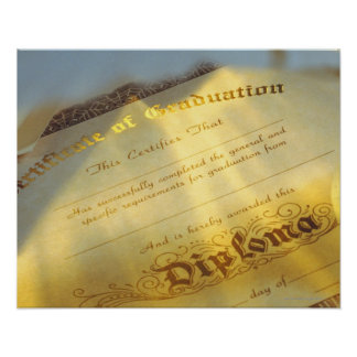 Close-up of diploma, Certificate of Graduation Poster