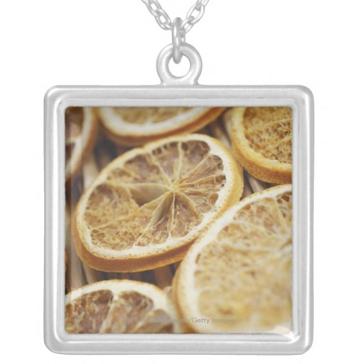 Close-up of dried slices of lemon personalized necklace