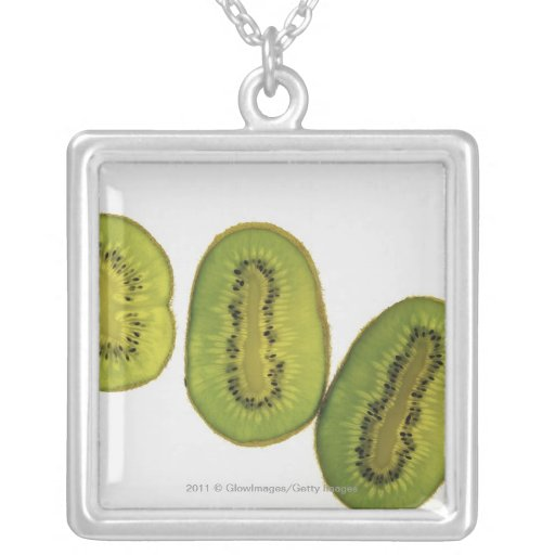 Close-up of five slices of kiwi fruit necklace