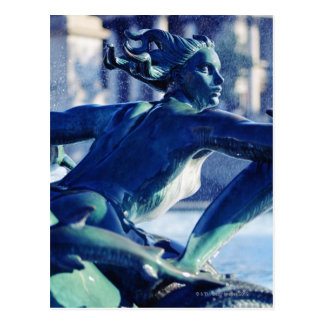 Close-up of fountain sculpture in Trafalgar Postcard