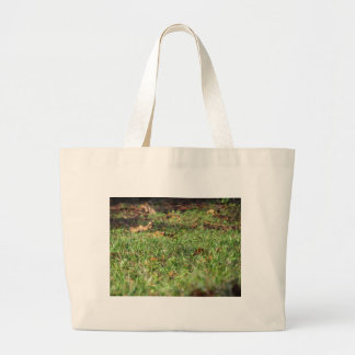 Close up of green grass field and autumn leaves large tote bag