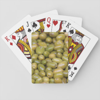 Close Up Of Green Olives Playing Cards