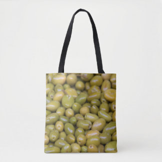 Close Up Of Green Olives Tote Bag