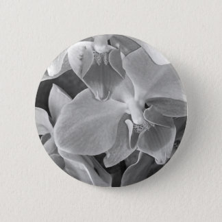 Close up of orchid blossoms in gray scale 6 cm round badge
