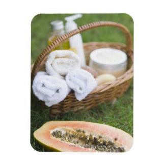 Close-up of papaya massage therapy treatment rectangular photo magnet